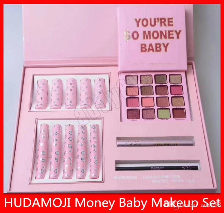 2019 Hot HUDAMOJI Makeup 4 in 1 Set MONEY BABY Makeup Set Eyeshadow Lipstick Lip Gloss Mascara Eyeliner So Rich Suit free shipping