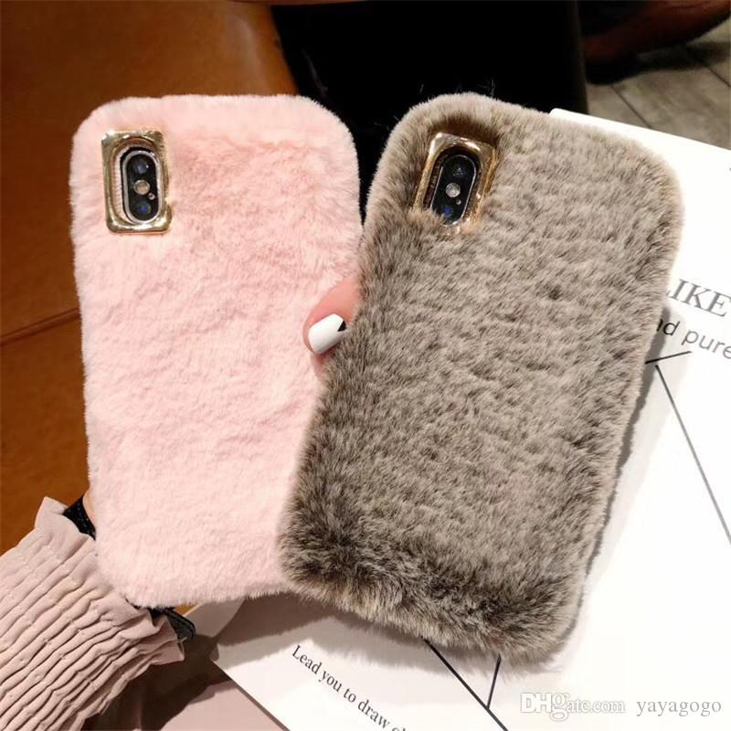 Hot goods Cute Fluffy Rabbit Hair Fur Case For iPhone XS Max XR X 8 7 6S Plus Cover Lovely Warm Bling Soft Phone Cases