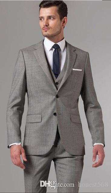 Dos guapos padrinos de boda Trajes de los botones muesca solapa esmoquin novio hombres de la boda / de Baile / Cena mejor hombre Blazer (Jacket + Pants + Tie + Vest) A378