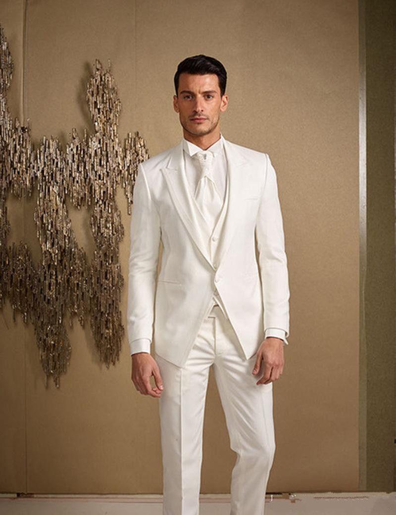 Nuevos trajes de hombre blancos personalizados Trajes de boda Slim Fit Trajes de padrino El mejor hombre Esmoquin de boda Vestido de fiesta (chaqueta + pantalones + chaleco) 570