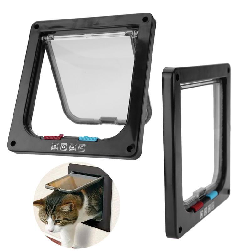 kedi Pet Ürünleri için 3 Boyut 4 Yönlü Pet Kedi Köpek Köpek Kapıları Kapı Kilidi Kilitlenebilir Güvenli Flap Door puertas para perros kapı