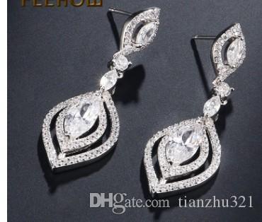 Preciosos pendientes de dama de cristal de diamante de alta calidad de 19.31 dfd
