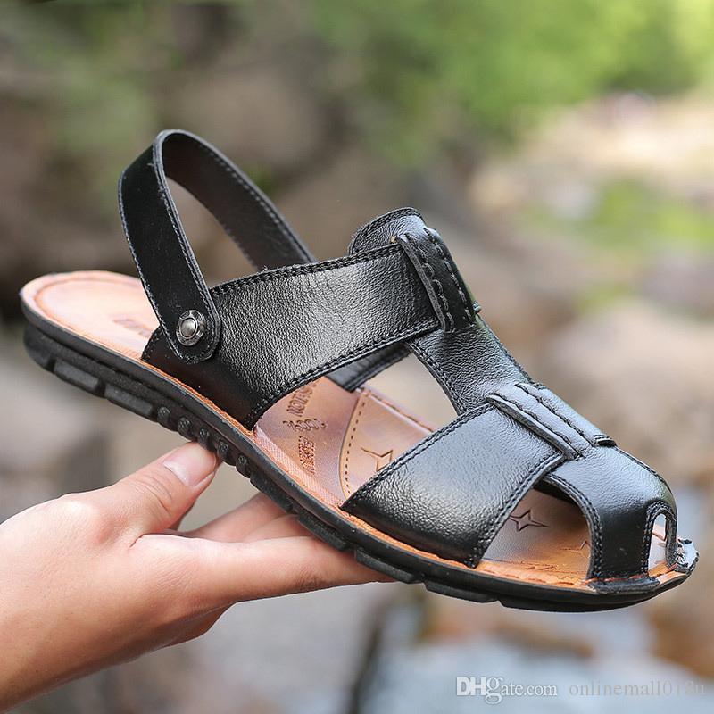 Sandalias para hombre sandalias de cuero de verano para hombre zapatos cómodos sin cordones, sandalias de moda para hombre zapatillas hombre talla 38-47