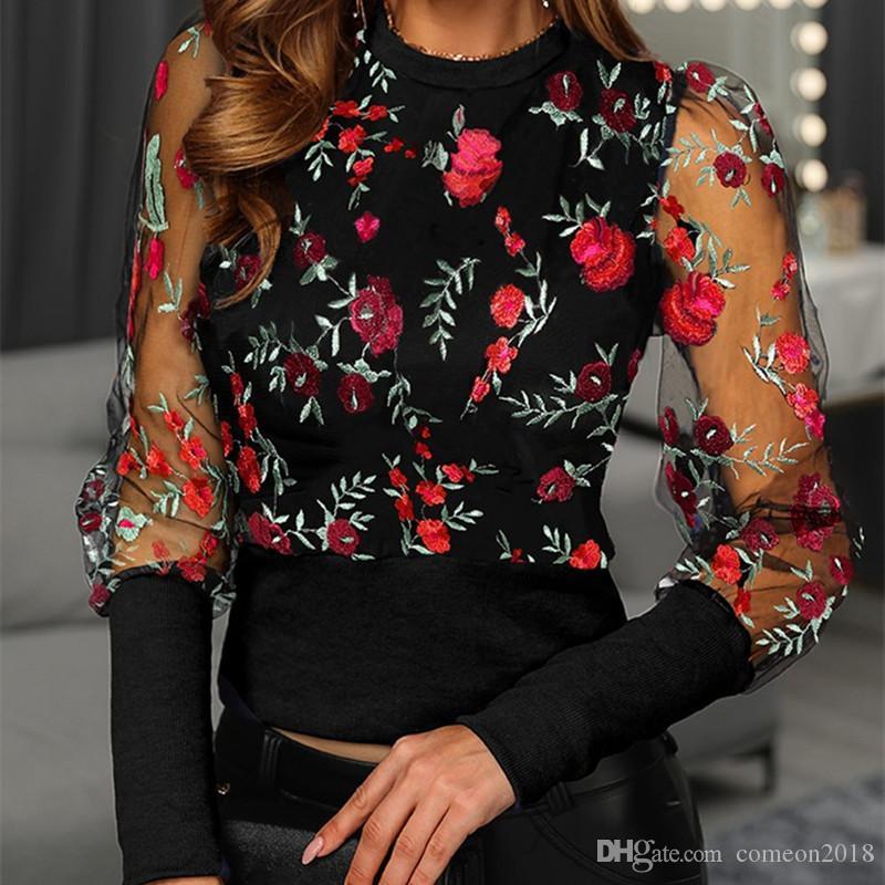 Señoras elegantes diseñador de las mujeres de la camiseta de malla bordado de la manga de soplo de la impresión floral de la blusa del cordón de las mujeres camisas sport del resorte de la manera tapas del otoño