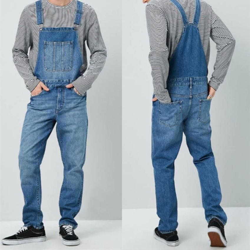 Mens Vintage Denim Overalls Wide-leg Pants Hip Hop Suspenders Jeans Jumpsuit NEW