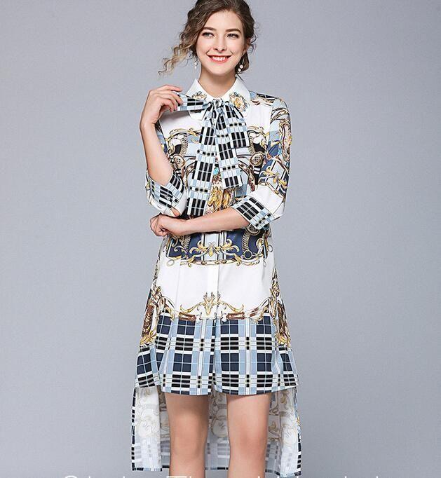 Платья с женской рубашкой с принтом решетки Hi-Lo Асимметричная юбка Платья уличного стиля длиной до колена с рукавом 3/4