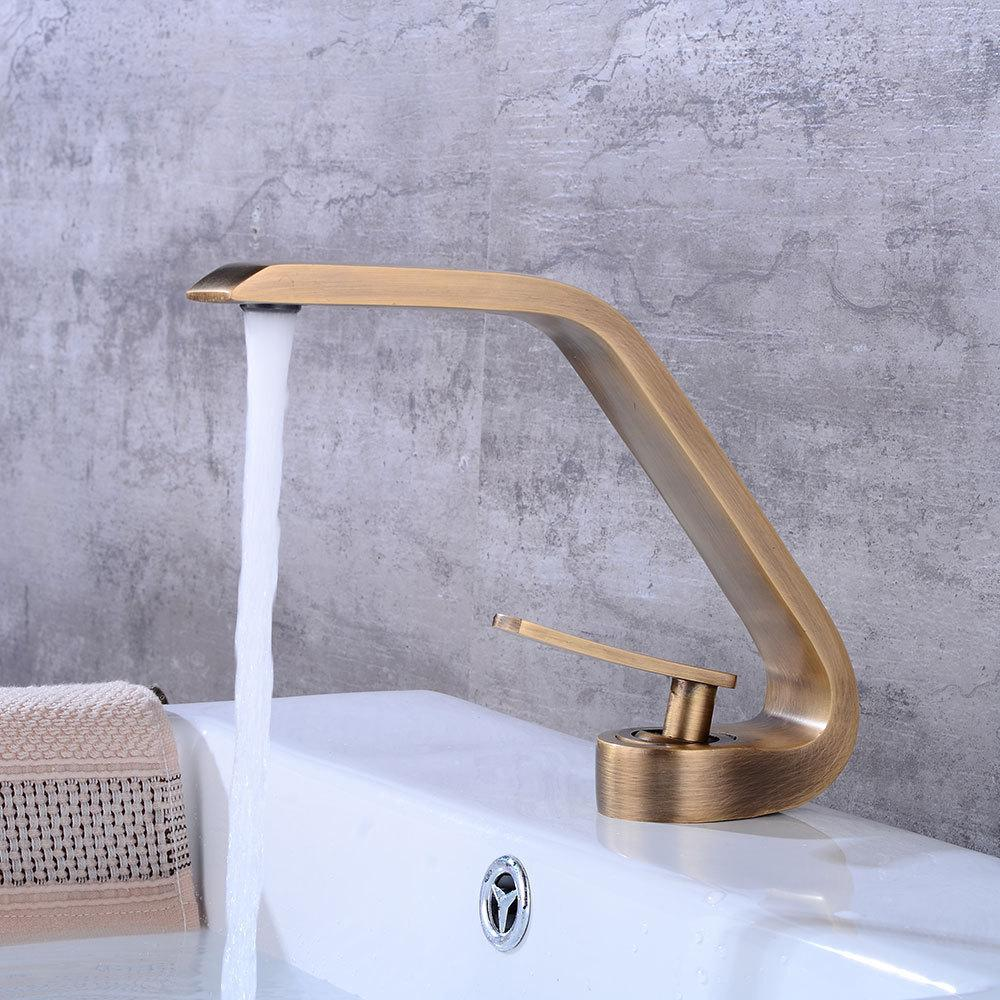 Bathroom Accessories Bronze Brushed Basin Mixer Water Hot And Cold Sink Tap Antique Brass Kitchen Faucet T200424