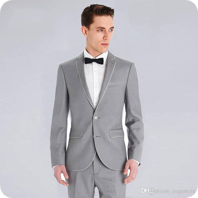 Nach Maß Grau Bräutigam Smoking Männer Anzüge für Hochzeit 2Piece mit zwei Knöpfen fallendem Revers Slim Fit Kostüm Homme Terno Masculino Trajes de hombre