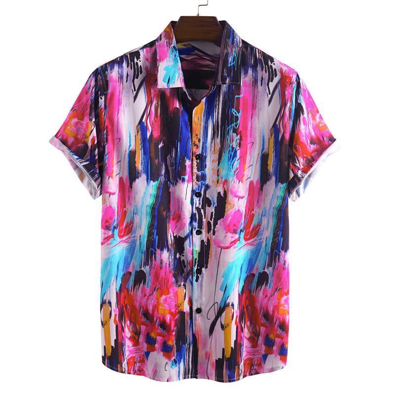 2020 Гавайская рубашка Мужская Цвет Graffiti Печатается с коротким рукавом рубашки Мужчины Бич Корейский Одежда