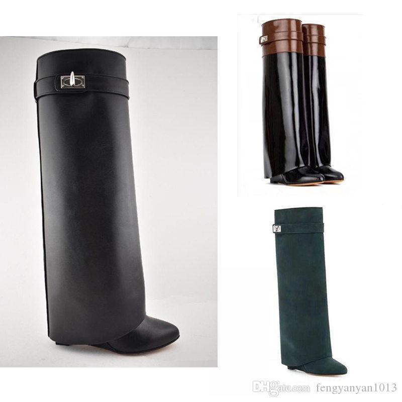 Botas 100% sapatos Senhoras couro mulher alta botas de salto alto luxo Designer de sapatos de couro com zíper botas Moda desencapados Grande tamanho 35-42