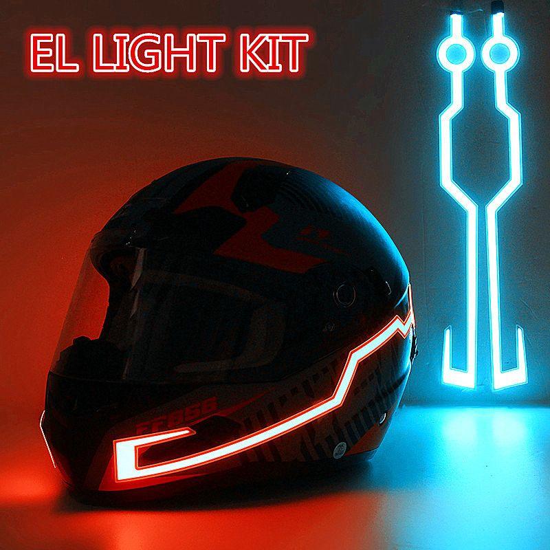 Motorcycle Helmet EL Cold Light Helmet Light Strip Night Signal Luminous Modified Strip Helmet Sticker constant bright/flash/voice control