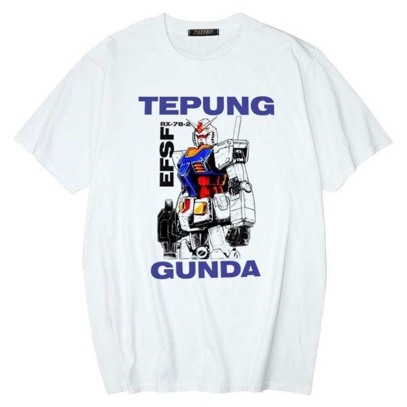 Nova moda masculina designer de anime Mobile Suit T-shirt Gundam RX-78-2 ocasional T-shirt T-shirt de mangas curtas impressas hip-hop