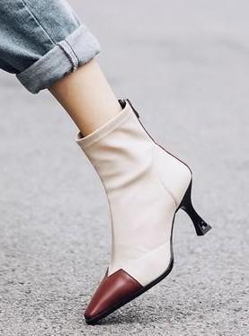 Nova Chegada Hot Sale Specials Super Moda Influxo de Algodão Personalizado Martin Cavaleiro Feminino Stitching Meias Stiletto Heels Ankle Boots EU32-43