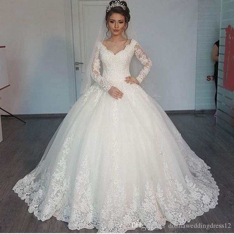 Nuevo vestido romántico con cuello en V elegante princesa vestido de novia 2019 manga larga apliques apliques bola vestido de novia vestido de novia Vestido de NOIVA