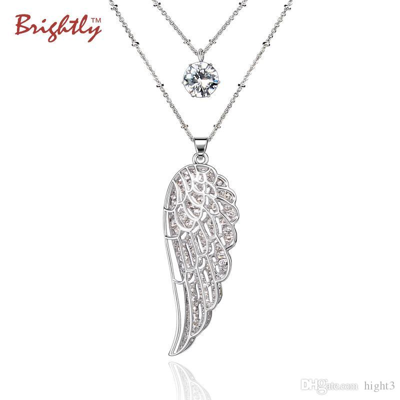 Brightly Double Layers Long Necklaces Double Angel Wings Simulated Rhinestone Pendants Necklace for Women Gifts Dropshipping
