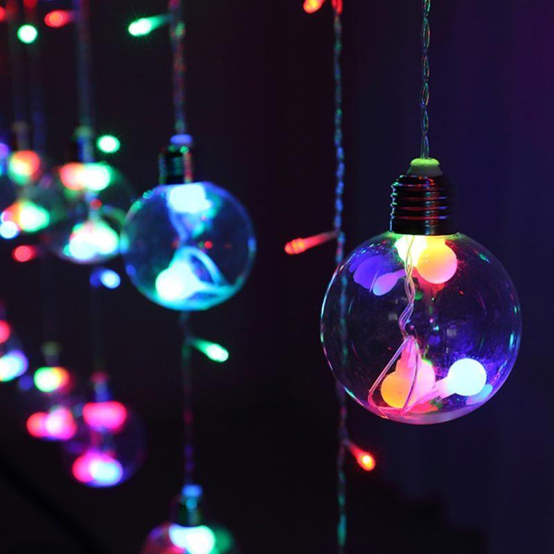 창조적 인 크리스마스 체인 조명 LED 축제 스타 커튼 장식 조명 8 패턴 소원 공 1 개