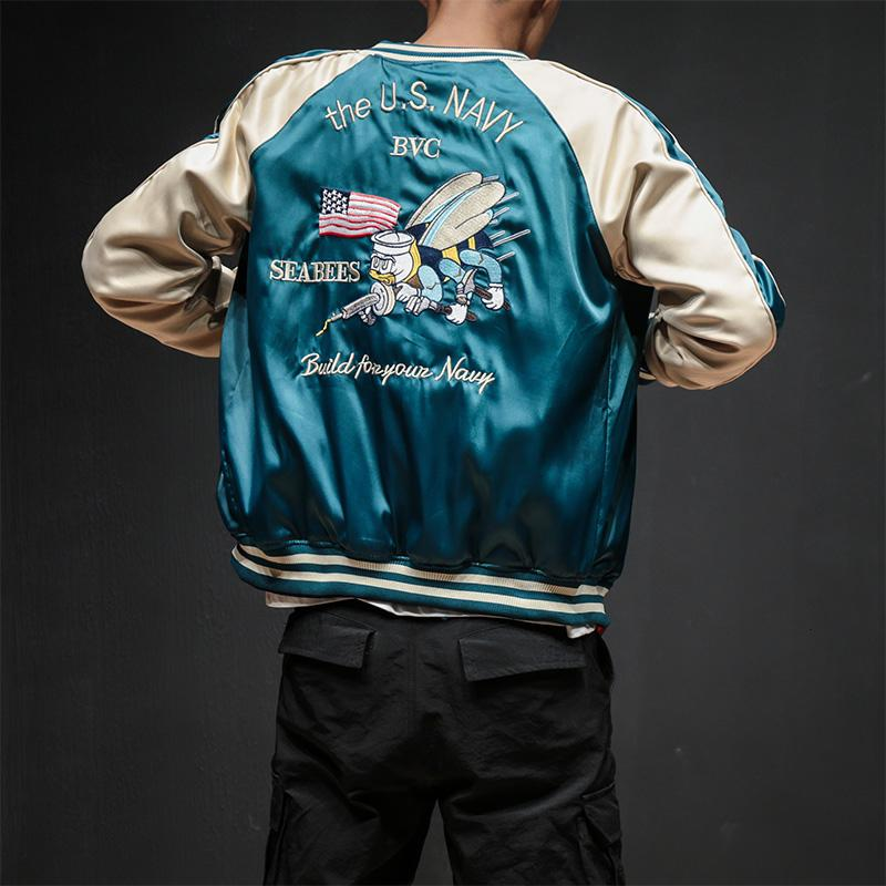 Две стороны Luxury Bomber Jacket вышивка Smooth Мужчины Sukajan Йокосука Сувенирная куртка Streetwear Hip Hop Baseball Jacket V191205