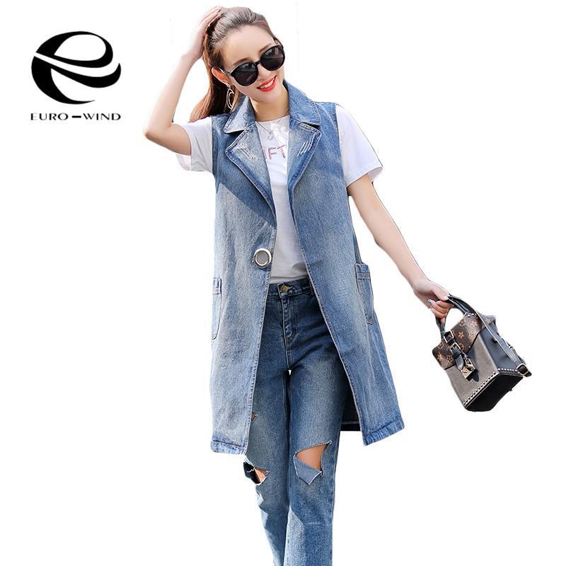 Plus Size S-3XL 2019 Summer Jacket Sleeveless Cardigan Ladies Jeans Waistcoats Long Denim Vest Women Slim Jacket Chalecos Mujer