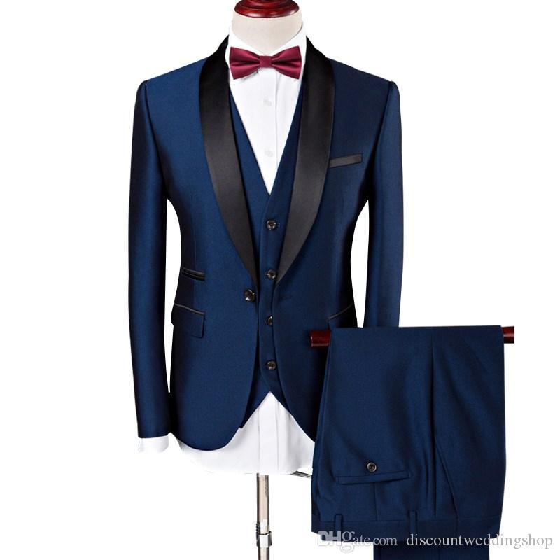패션 원 버튼 블루 신랑 턱시도 목도리 옷깃 남자 웨딩 파티 신랑 들러리 3 벌 정장 (자켓 + 바지 + 조끼 + 넥타이) K67
