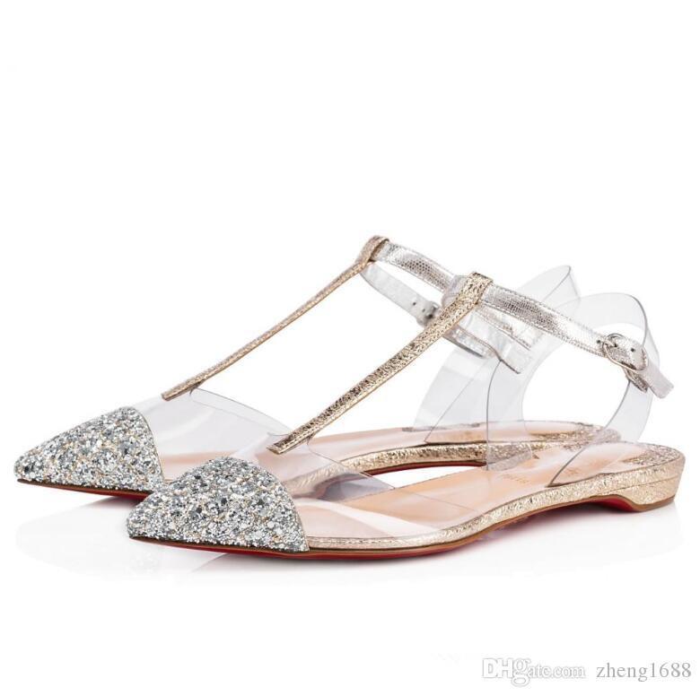 Seksi Bayanlar Noktası Burun Kırmızı Alt Ayakkabı Meraklı Kadınlar Sandalet Flats, Popüler Tasarımcı Gelinlik Bale Ayakkabıları Parti Gelinlik EU35-42