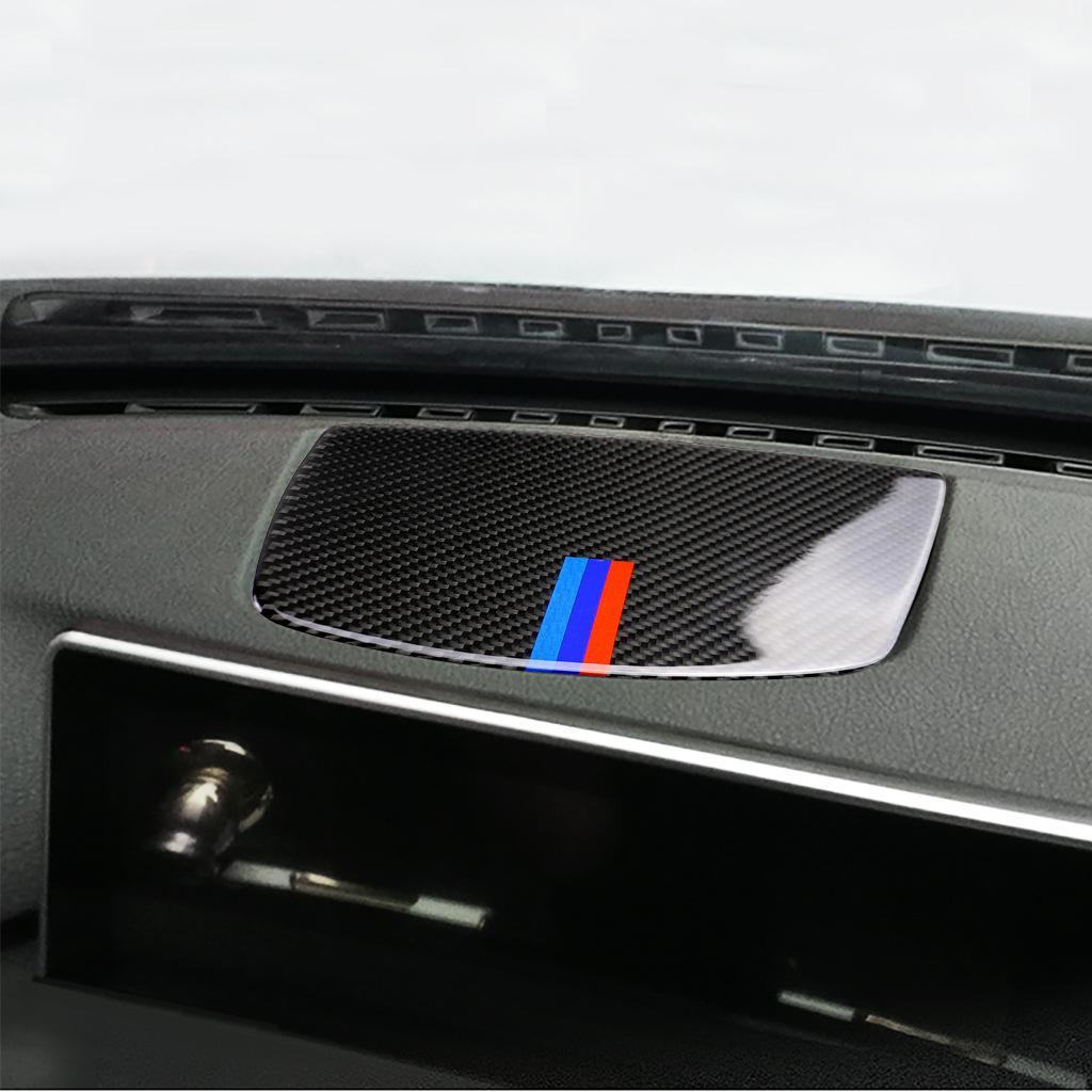 Karbon Elyaf Merkezi Gösterge Paneli Horn Hoparlör Paneli Dekorasyon BMW 3 Serisi F30 F34 için Çıkartma Yapıştır