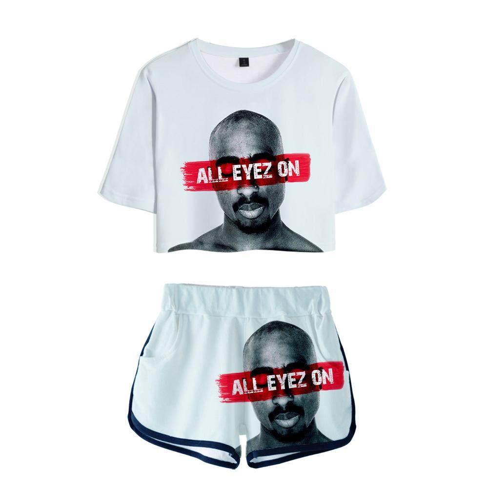 3D печать Pattern Tshirt Хип-хоп Повседневный Топ + шорты 2 шт Набор женщин 2019 Два Piece Set 2Pac Рэпер Harajuku Tshirt Женщины