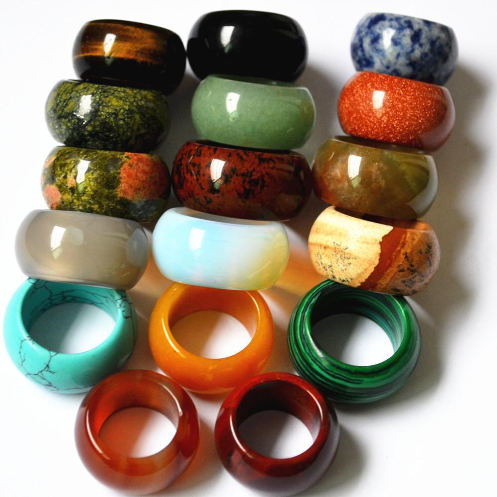 comprar online 69121 140bc Compre Anillo De Piedra Natural Liso Multicolor Ópalo Moda Anillos Anillos  De Joyería Para Mujeres Hombres Anillo A $3.3 Del Seamey_jewelry | ...