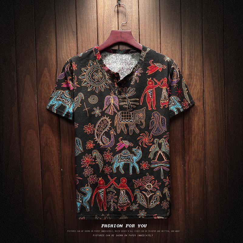 Männer Baumwollleinen Kurzarm T-Shirt Sommer-dünner Stoff Chinese Traditional V-Ausschnitt T-Shirts Kleidung Männer Retro-T-Shirt Regular