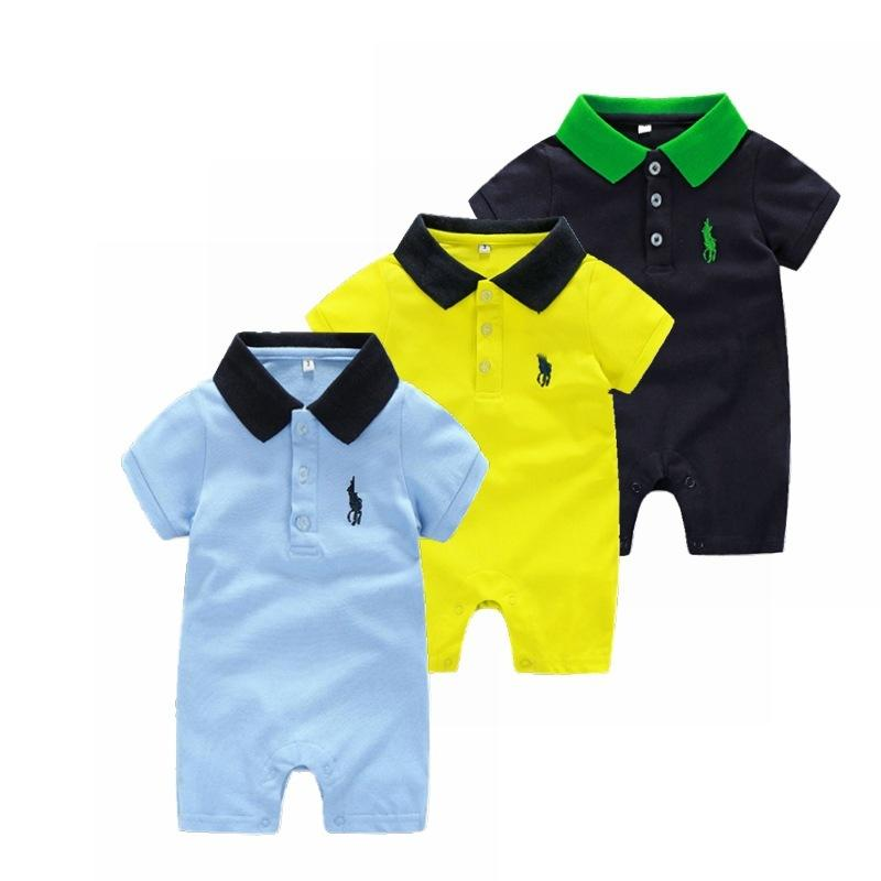 3 Solid Color Baby Jumpsuit Cotton Summer Short Sleeve Baby Jumpsuit Lapel Baby Clothing Climbing Suit