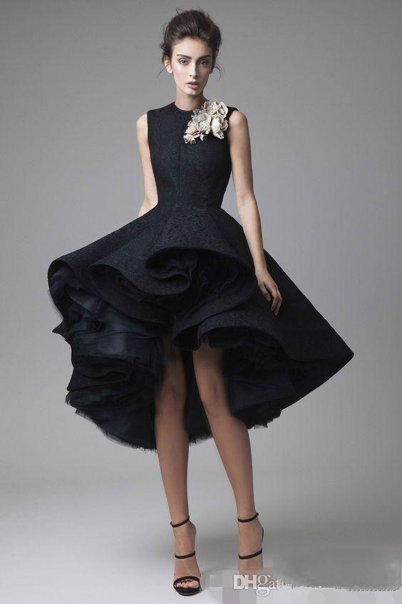 2020 Modest Dubai Arapça Örgün Abiye Parti Giyim Mücevher Yüksek Düşük El yapımı Çiçek Balo Homecoming Elbise Ücretsiz Kargo
