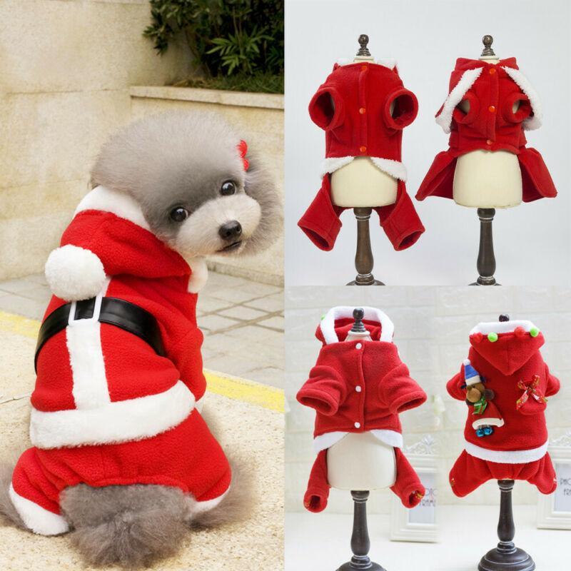2019 de Navidad del perrito del animal doméstico ropa del gato capucha del invierno de la capa del traje de ropa CALIENTE suéter caliente
