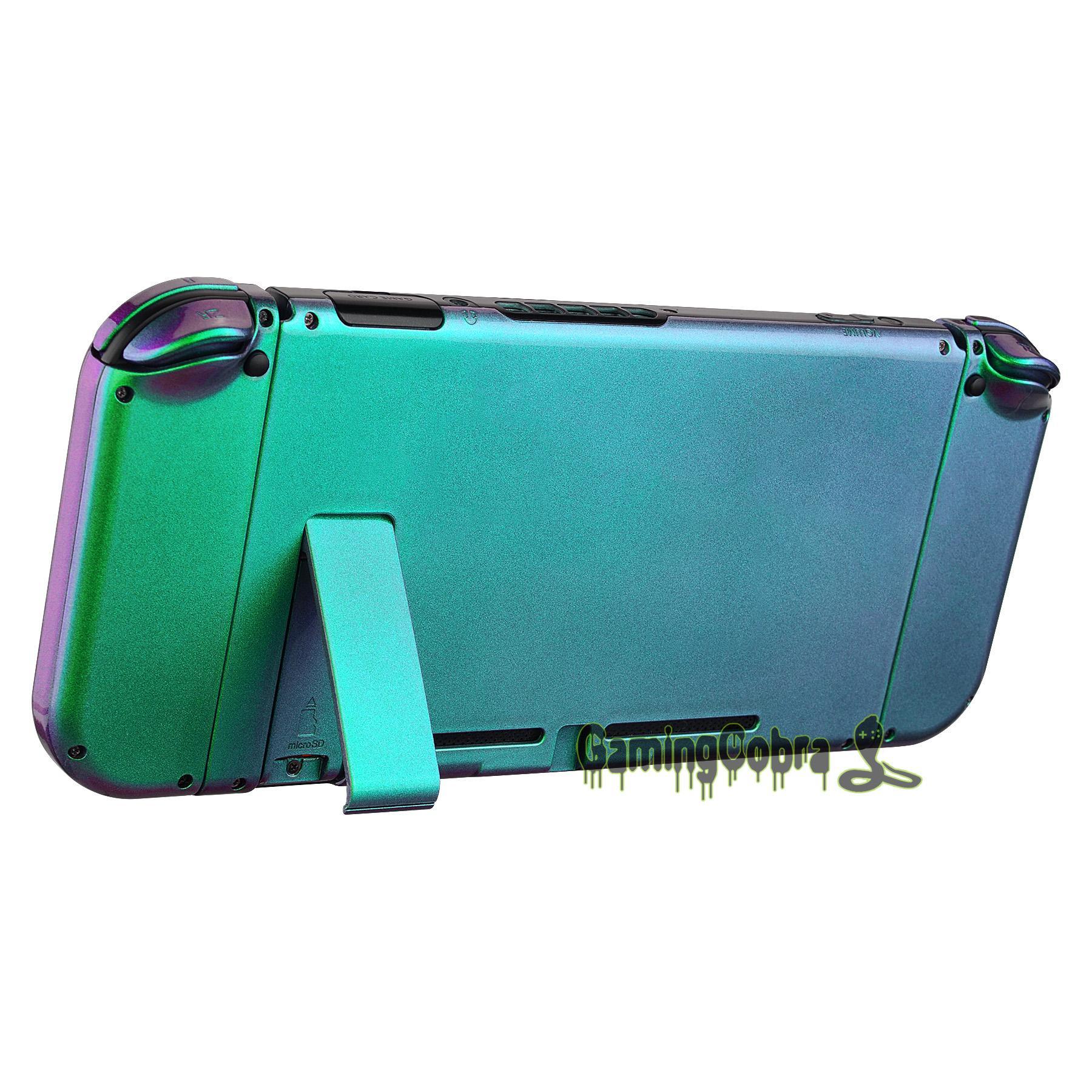 Camaleón verde púrpura brillante consola placa trasera W / JoyCon Controlador de Shell de vivienda W / Sistema completo de los botones para Interruptor de Nintendo