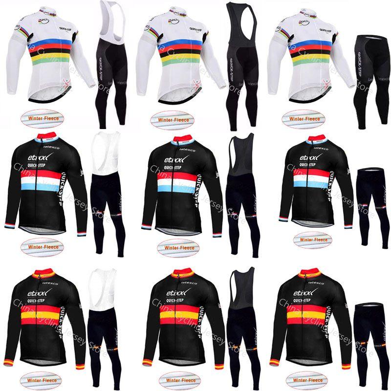 Quick Step 2019 Pro Cycling Team Jersey Inverno Cycling Jersey manica lunga del panno morbido termico Bike Abbigliamento Maillot Ropa Ciclismo A08