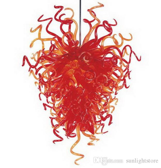 Salon décoratif lustre en verre soufflé à la main Dale Chihuly LED de style européen de la source lumineuse Hanging Art pendentif en verre Lampes
