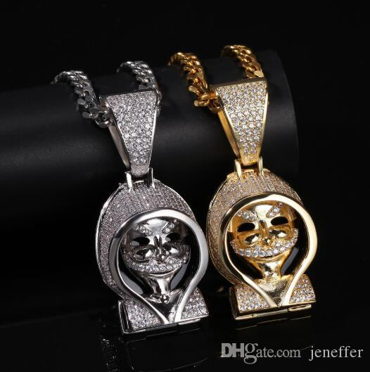 hot new sale 316L stainless steel retro punk Death Pendant Tide Brand Hip Hop Necklace New pendant with a cloak bingbling pendant necklace