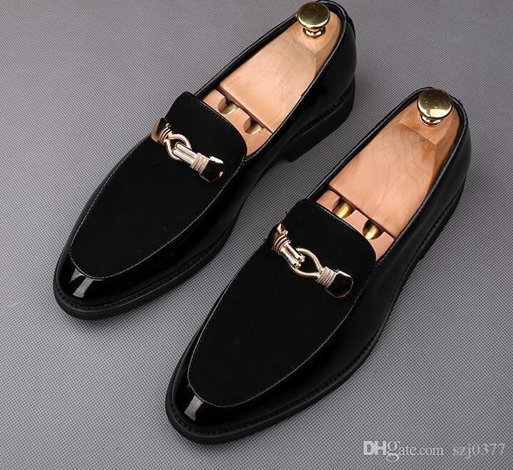 Designe und weise Männer Faulenzer Trensen spitzen Zehen Slip-On-Kleid Schuhe atmungsaktiv Berühmtheit Männer Weihnachten Abschlussball-Partei Lederschuhe