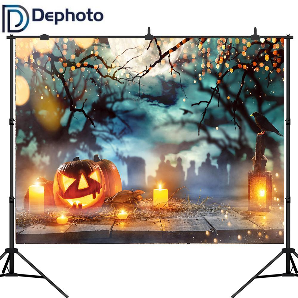 Dephoto Halloween Graveyard Fotografia Vinil Fundo Piso velas lanterna lua da foto da abóbora fundo do estúdio