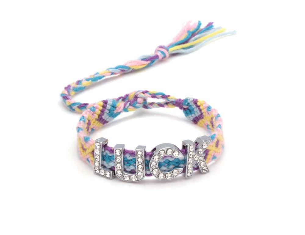 Multicolor Diamante Alphabet Wish Luck Love Hope Charm Friendship Bracelet Star Skull Clover Cross Peach Heart Jewelry Gift