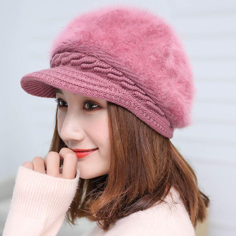 Fashion Rabbit Hair Knitted Hat Women Warmer Winter Hats For Women Skullies Beanies bonnet