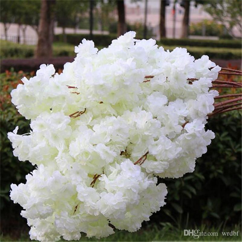 """실크 체리 100cm / 39.37 """"길이 인공 꽃 암호화 된 베고니아 꽃잎 밀도 3 층 체리 사쿠라 웨딩 센터 피스"""