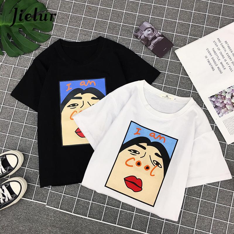 Женская одежда Женская тенниска Harajuku I Am Охладить Письмо печать белых женщин Корейского Нейлон Творческих Женской Мода Пародия Black Top S Xl