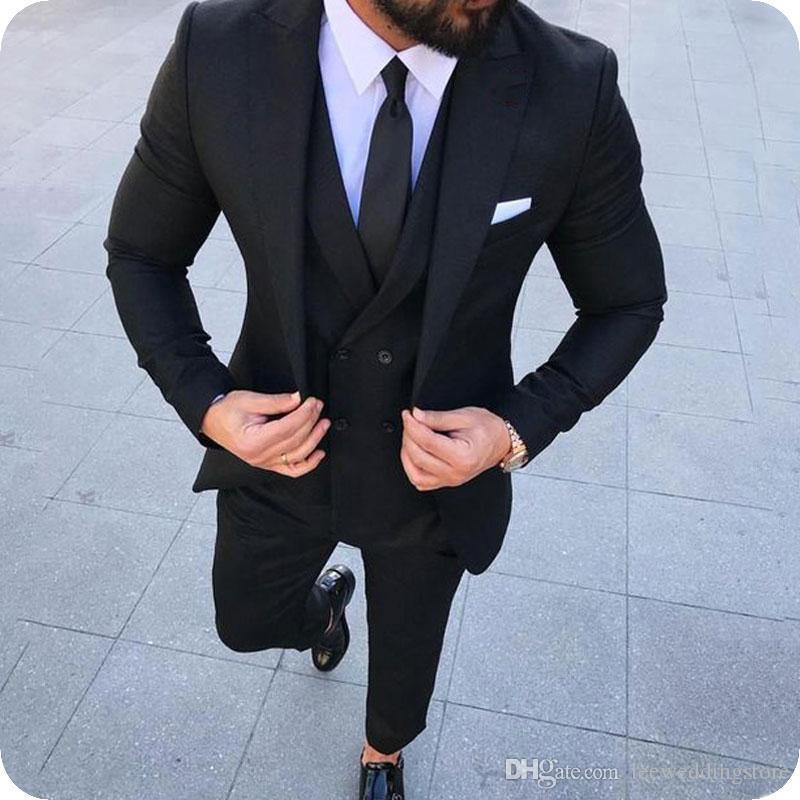 أحدث معطف بانت تصميم أسود الأعمال الرجال الدعاوى الدعاوى الزفاف للرجل السترة العريس ارتداء البدلات الرسمية رجالي سترة الكلاسيكية صالح زي أوم الطرف