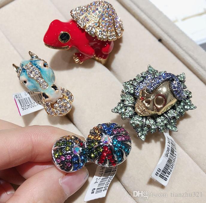 wondrful high quality diamond crystal wholesale more style 6pcs/lots 925 silver lady's rings (random0 (6.2)yu
