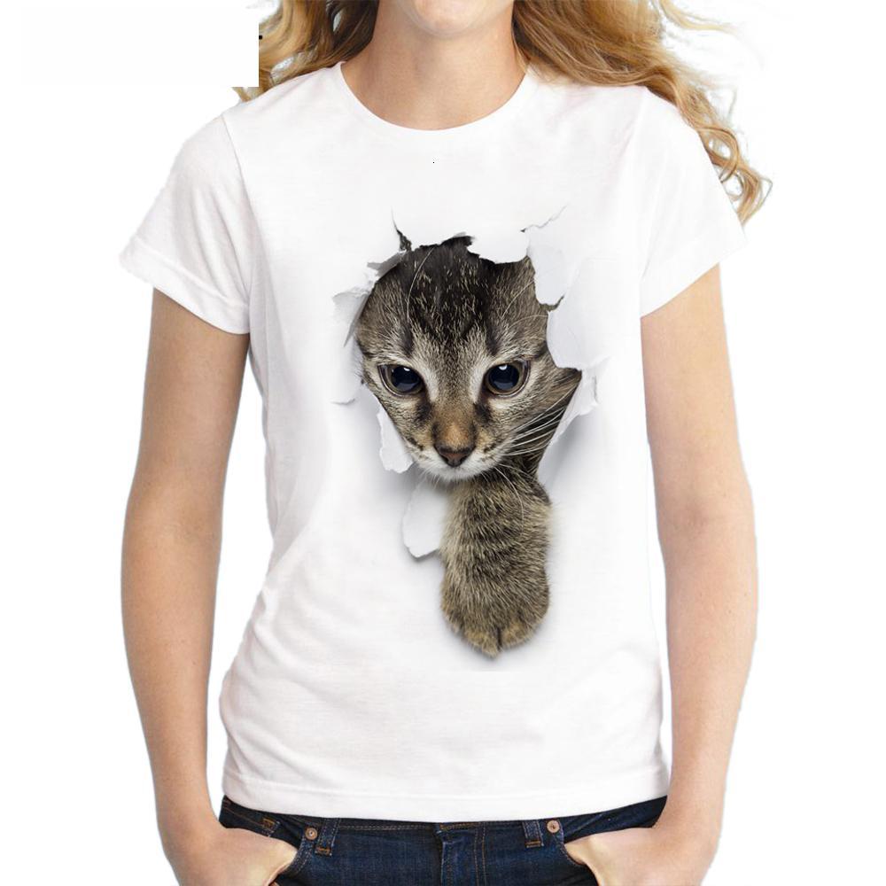 Womens Camisetas Mulheres Tops Verão impertinente do gato 3D Adorável T Shirt Mulheres Printing Originalidade linho O Neck manga curta Tops Tee