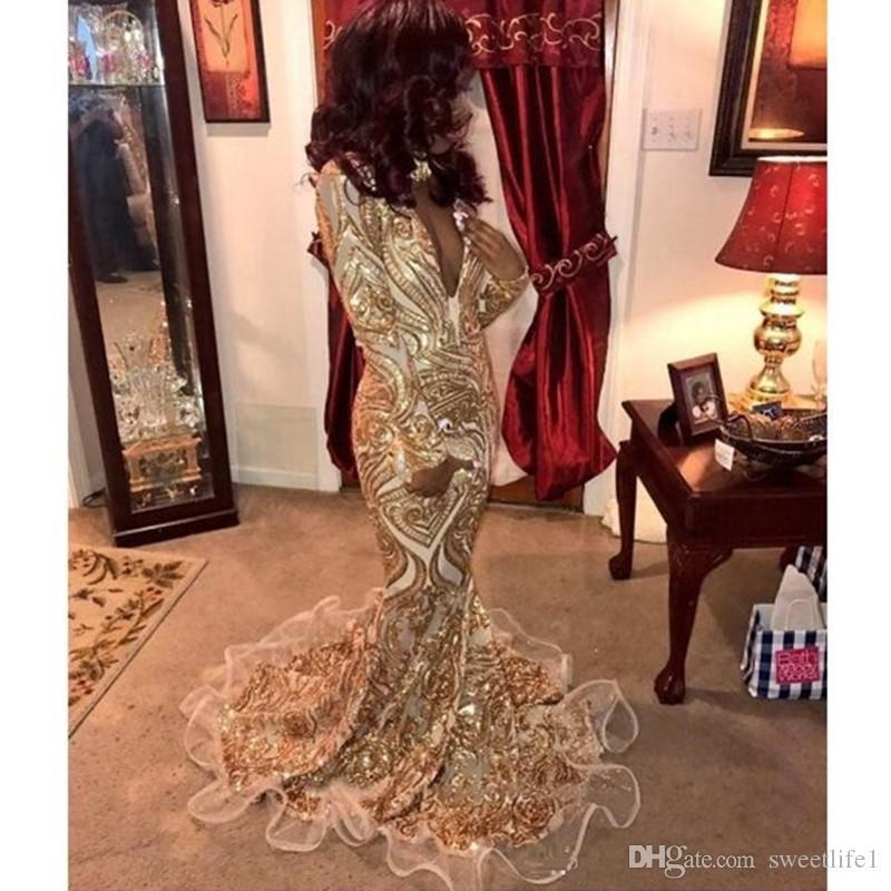 2020 스파클 섹시한 이브닝 드레스 댄스 파티 드레스 인어 트럼펫 골드 아프리카 파티 드레스 가운 데 야회