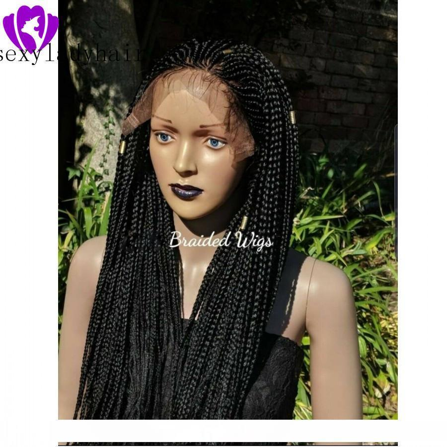 H Lager Black Brown Blonde Synthetic Geflochtene Lace Front Perücken für schwarze Frauen Heat Resistant Voll Braid Perücken Premium-Geflochtene Zöpfe Box