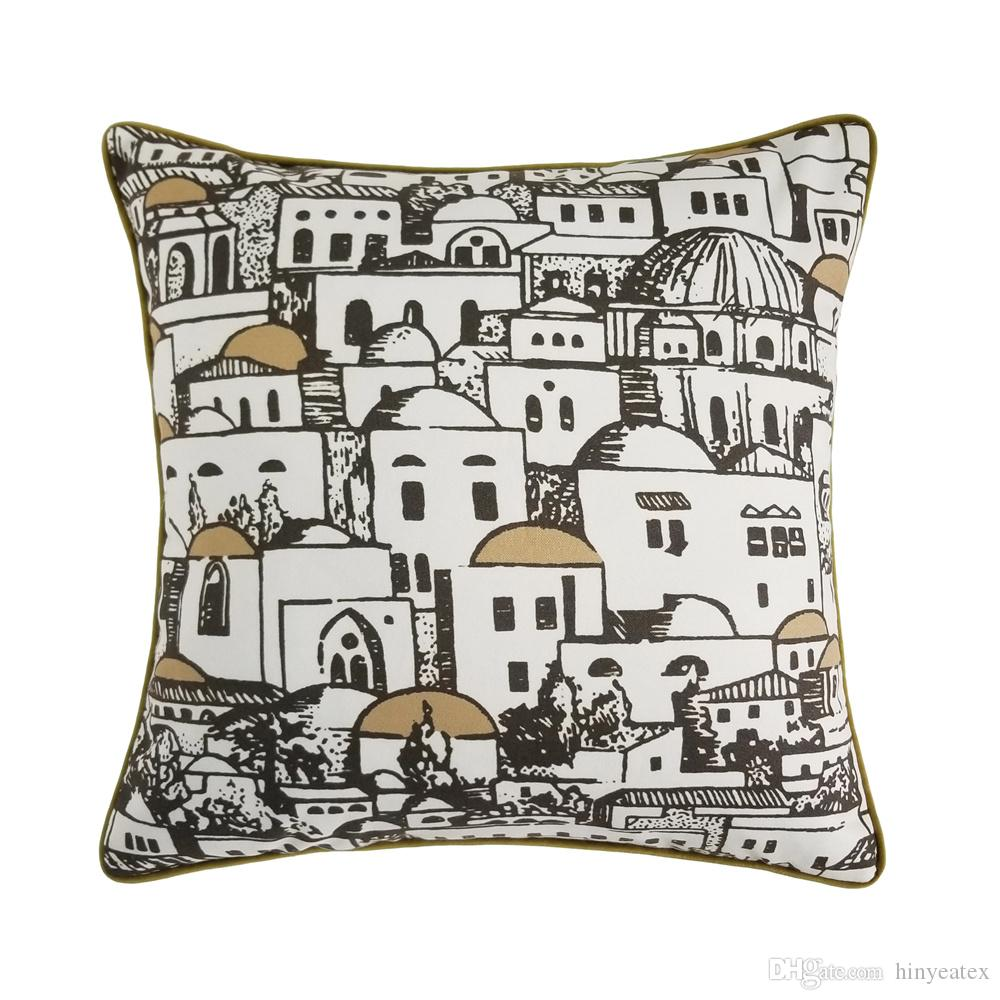 Hinyeatex Fashion Middle East Building Desert House Geometry Modern Home Sofa Print Designer Cushion Cover Decorative Pillow Case 45 X 45cm 24x24