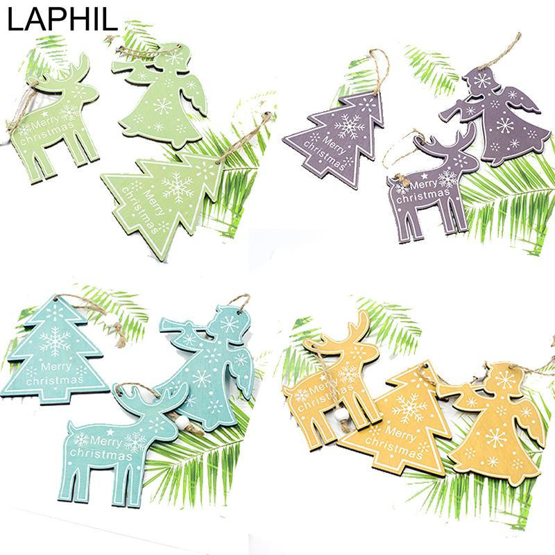 LAPHIL 3pcs Creative Wood Crafts Christmas Wooden Pendants Ornaments for Home Decoration Xmas Tree Hanging Ornaments Kids Gift