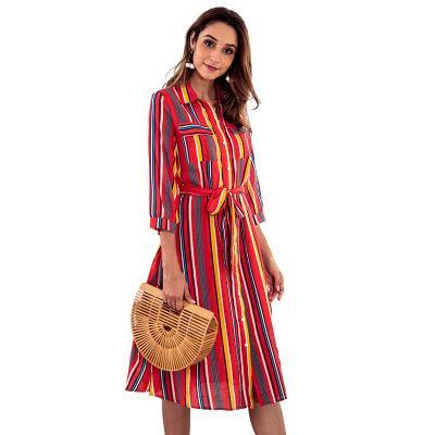 Compre De Las Mujeres A Rayas Vestido De La Impresión De Las Señoras De La Moda Del Otoño Del Vestido Del Panel De La Solapa Floja Ocasional Femenina