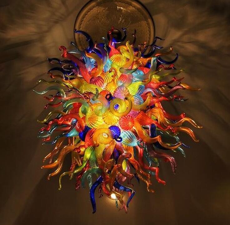 Kolye Lambaları Çok Renkli Murano Büyük Avizeler LED Işıkları Stil El Üflemeli Cam Sanat Kolye-Işık Lambası Dubleks Bina Aydınlatma